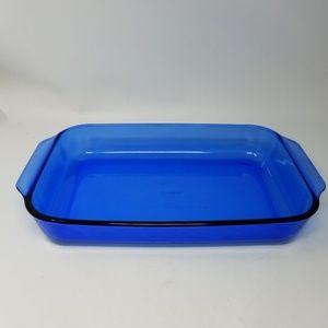 Vintage cobalt blue pyrex casserole 9×13